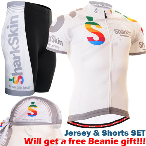 2016 white mens cycling sets spring autumn short sleeve cycling jerseys+padded riding sh ...
