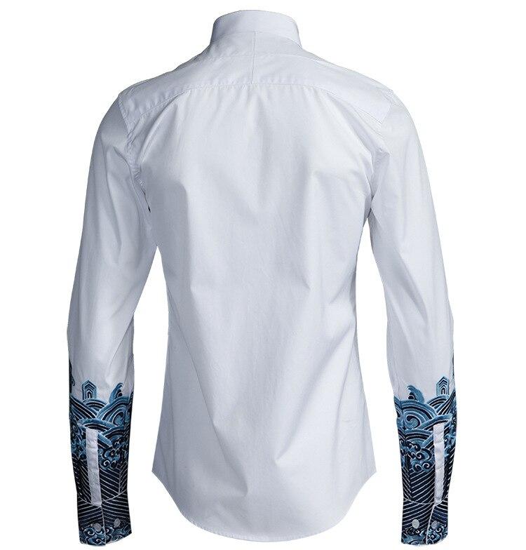 Erkek Kıyafeti'ten Rahat Gömlekler'de Lüks iş nakış erkek Çin tarzı orijinal gömlek özel uzun kollu gömlek erkek moda rahat beyaz gömlek erkekler tops'da  Grup 2