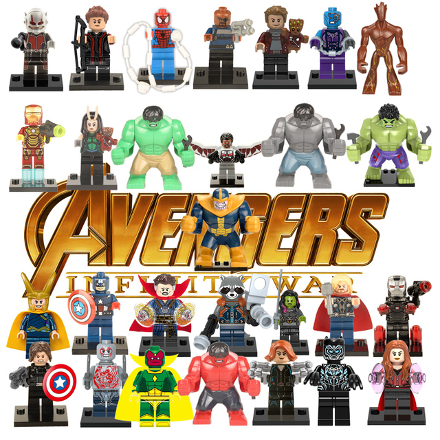 Avengers Super Heroes Building Blocks Compatible with LegoINGlys Marvel Toys For Kid Iron Man Thor Ant man Deadpool Thanos Hulk