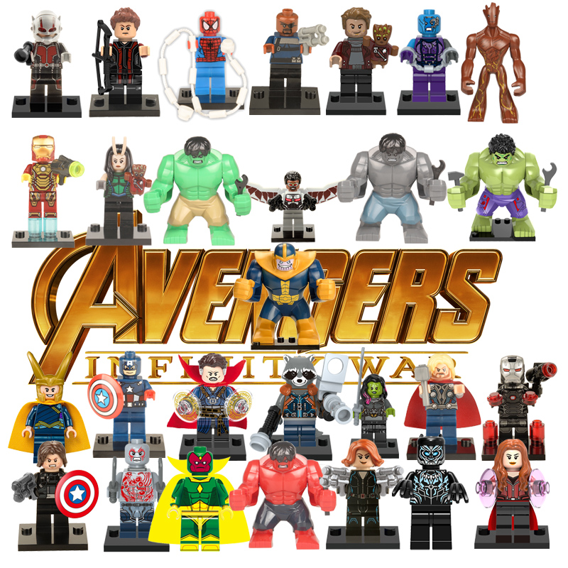 Avengers Super Heroes Building Blocks  Marvel Toys For Kids Action Figure Iron Man Thor Ant man Deadpool Thanos Hulk emblem