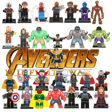 Avengers Super Heroes Building Blocks Marvel Toys For Kids Action Figure Iron Man Thor Ant man Deadpool Thanos Hulk(China)