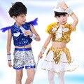 День защиты детей 2017 новые костюмы для Детей Мальчики Девочки унисекс танцевальные костюмы блестками дети устанавливает производительность для стадии