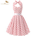 2017 New Summer Casual Women Dress Plus Size Red White Polka Dots 50s Vintage Retro Rockabilly Dress vestido de festa VD0081