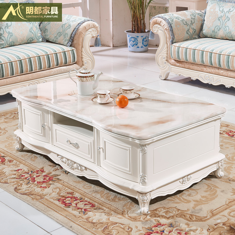 Marble Coffee Table Wood Tv Cabinet Continental Combination Packages Living Room Furniture Units