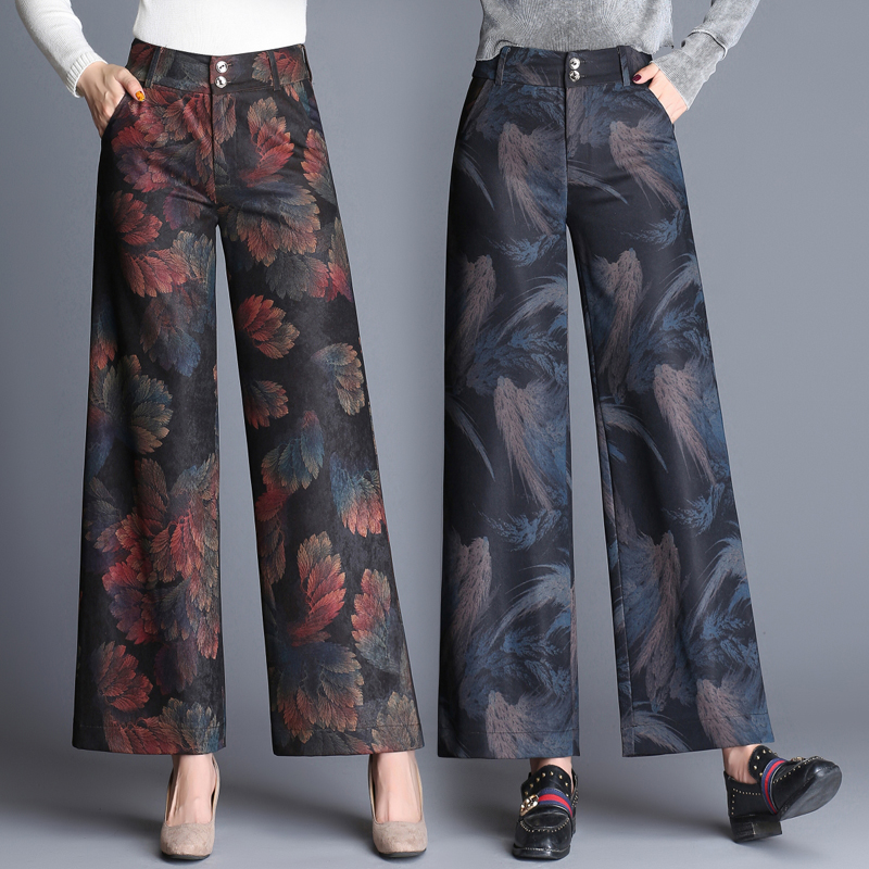 Colorful Floral Printed Pants Women Black Fashion Ethnic Pants 2017 Casual Elegant High Waist Wide Leg Trousers Femme