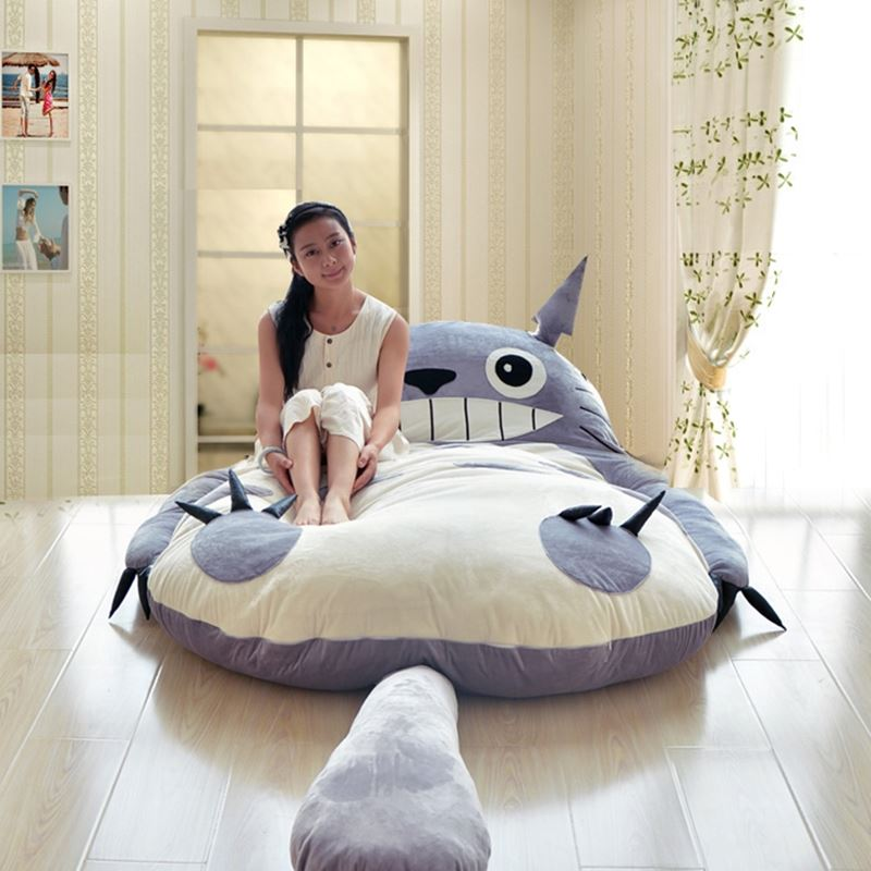 Classic Totoro Bed KARGE TATAMI CHINGHILLA Lazy cartoon tatami cute creative reclining BED size 170x200cm|bed base|bed twin|bed rails for twin bed - title=