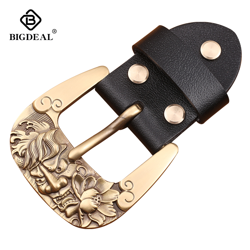 40mm Width Solid Brass Belt Buckle Men's Metal Pin Buckle Cowboy Buckle Jeans Accessories DIY Leather Craft Hardware