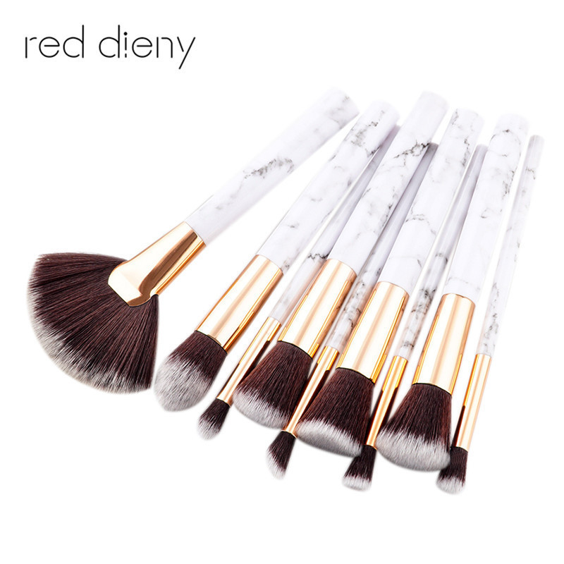 9Pcs/Set Professional Makeup Brushes Marbling Handle Eye Shadow Eyebrow Lip Eye Make Up Brush Comestic Tools 10 pcs crystal professional makeup brushes set beauty power blush flame angle shadow comestic makeup tools