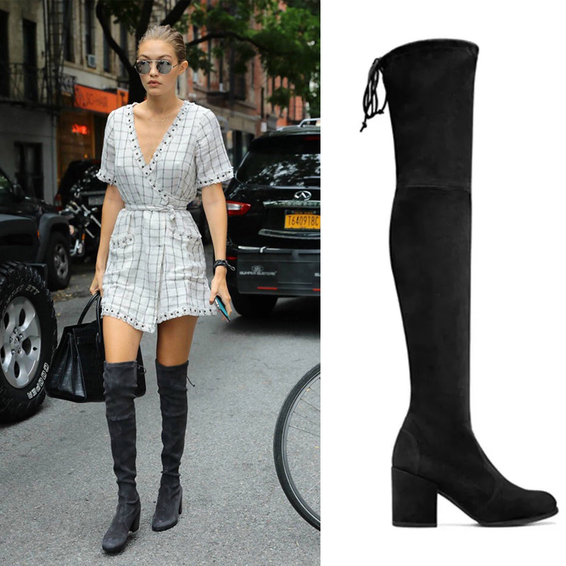купить Top Selling Winter New Design Slim Black Gray Flock Lowland Over The Knee Boots Back Tie-Up Stretch Women Skinny Long Boots недорого