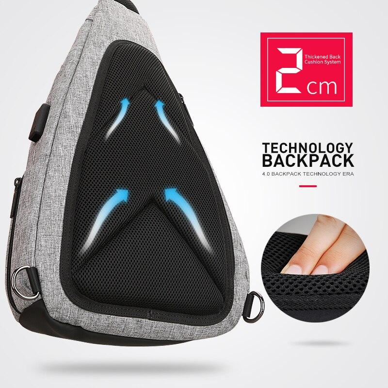 USB Recharging Chest Sling Bag - Multi-functional Shoulder Bag 5