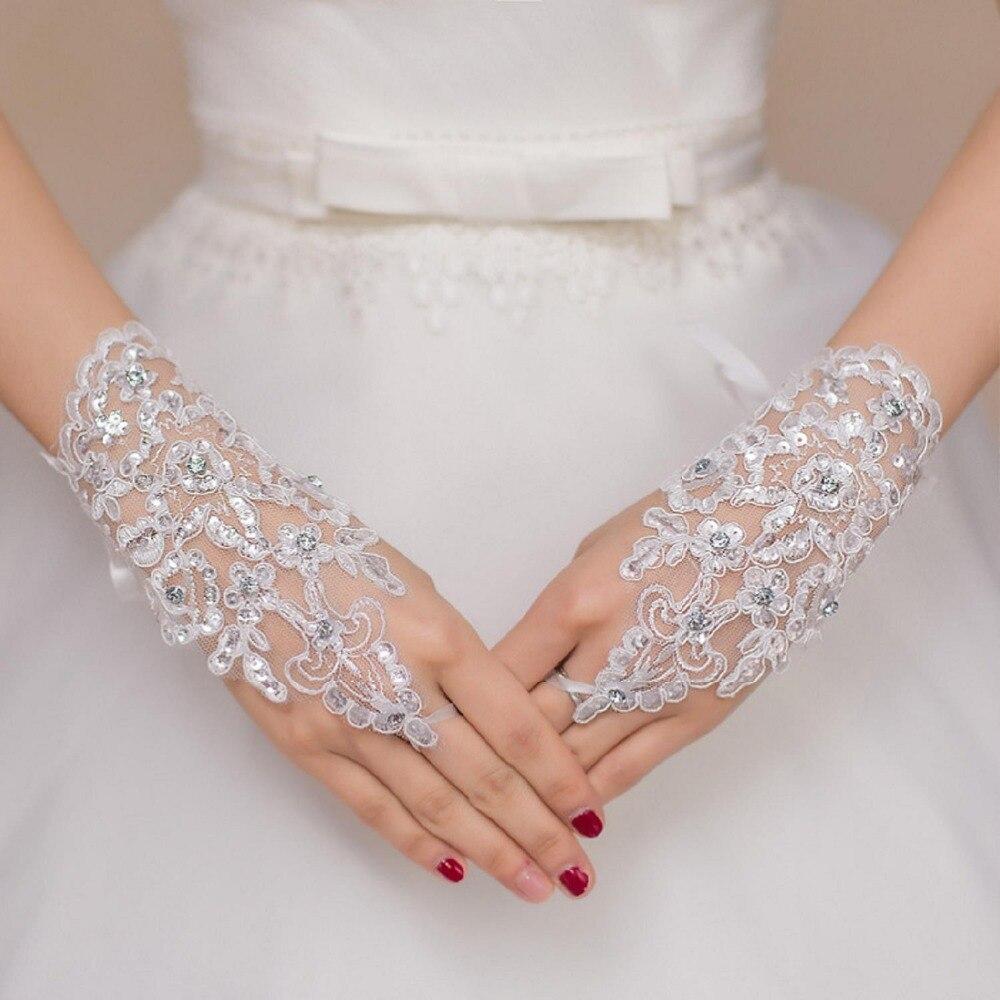 100% QualitäT Heißer Verkauf Finger Handgelenk Länge Spitze Appliques Weiß Braut Hochzeit Handschuhe Schnelle Verschiffen Luva De Noiva Bequemes GefüHl