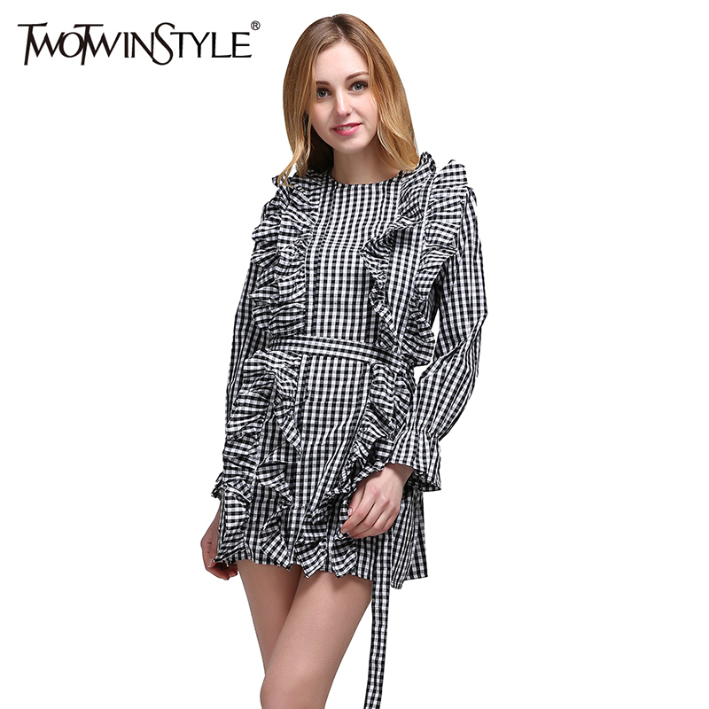 2ae4de09ac831 TWOTWINSTYLE Plaid Tunic Dress For Women Ruffles Lace Up High Waist Flare  Sleeve A Line Mini Dresses Female Spring Sweet Clothes
