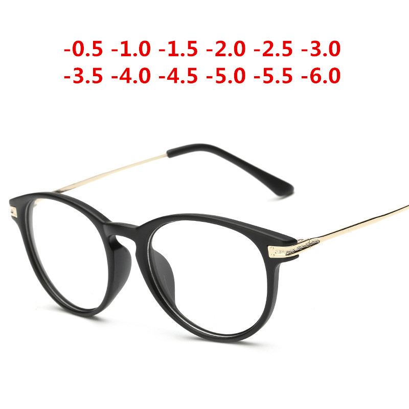 Matte Black Retro Finished Myopia Glasses Nearsighted Diopter Glasses Myopia Glasses 1.0,-1.5,-2.0,-2.5,-3.0,-3.5, -4.0,~ -6.0