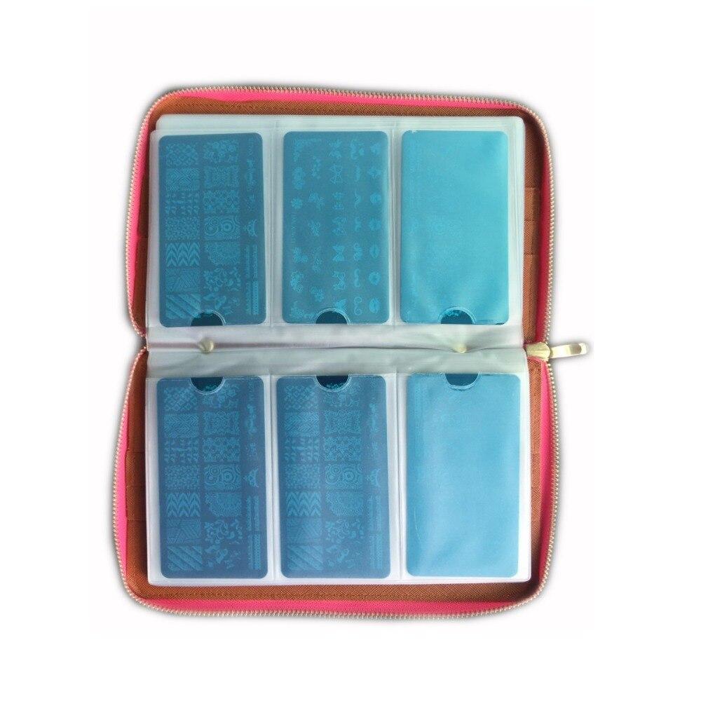 120 Slots PU Leather Caso Da Arte Do Prego Carimbar A Placa de Imagem para Dia 12X6 cm Armazenamento Titular Album Stamp Template Stencil 2017 Nova Prego