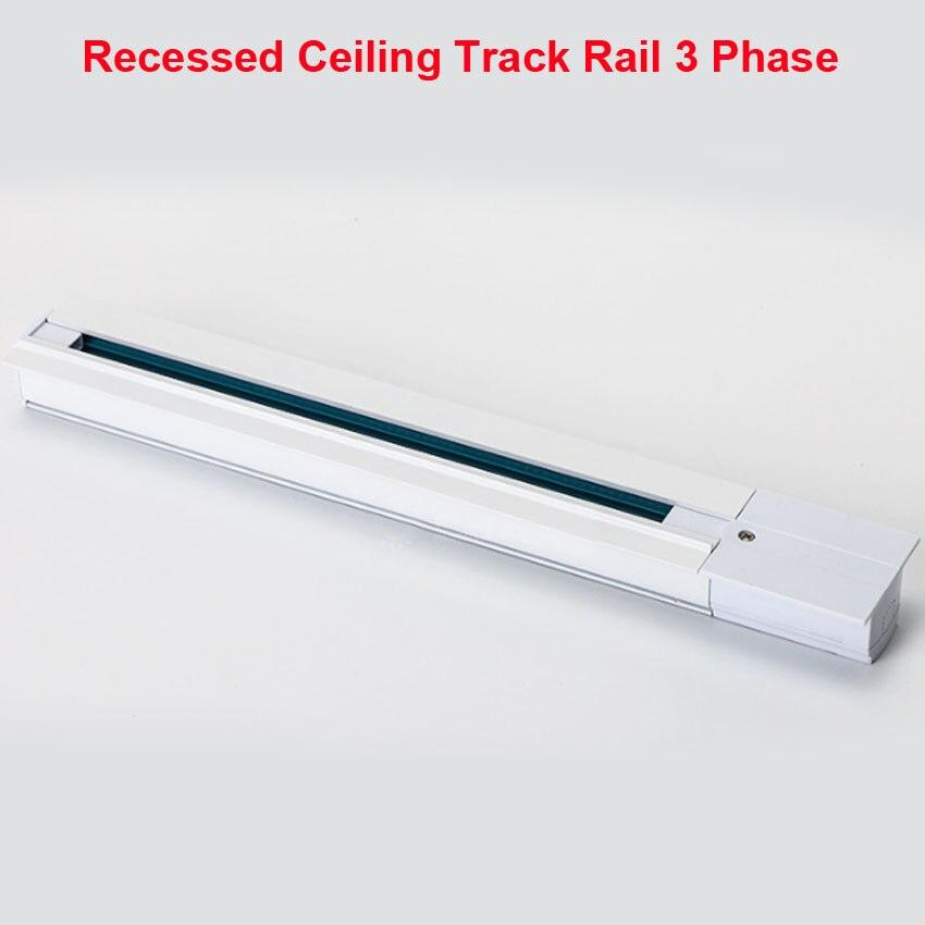 Inset Light Rail: 1M Lighting Track Rail 3 Phase 3 Circuit 4 Wires Aluminium