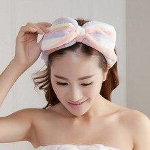 Для женщин, украшенные бантом-бабочкой модная повязка для волос с принтом в виде букв для мытья лица головная повязка Головные уборы для девочек повязка на голову из кораллового флиса; аксессуары для волос