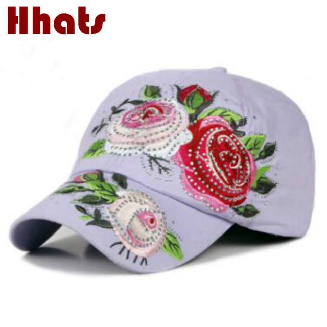 which in shower women floral baseball cap adjustable cotton embroidery  flower bling rhinestone snapback hat lady summer sun bone f38a0106c91