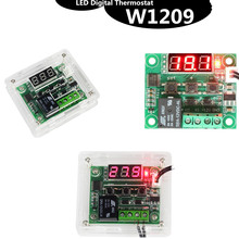 W1209 Led Digitale Thermostaat Temperatuurregeling Thermometer Thermo Controller Switch Module Dc 12V Waterdicht + Case Acryl Box(China)