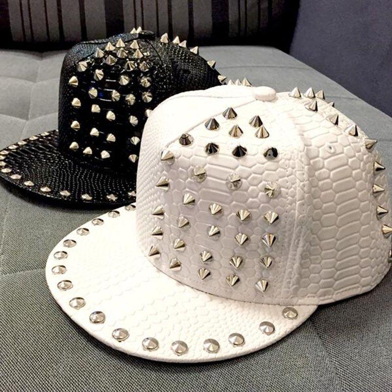2015 New Arrive Solid Leather Snakeskin grain Rivet Luxury Hats For Unisex Casual Hip Pop Hats Fashion   Baseball     Cap   Snapback