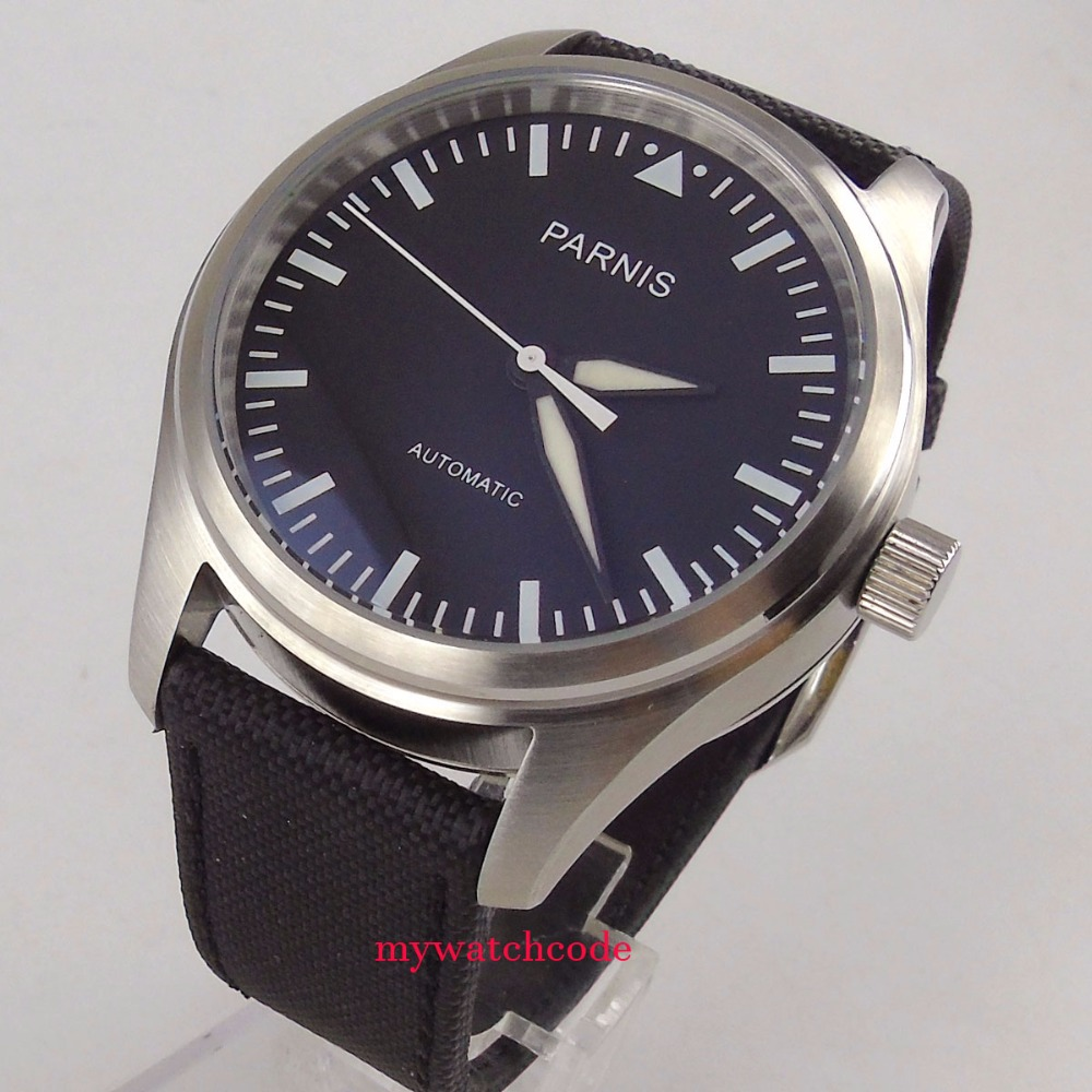 42mm Parnis black dial date steel case Automatic Movement Mens Casual Watch цена и фото