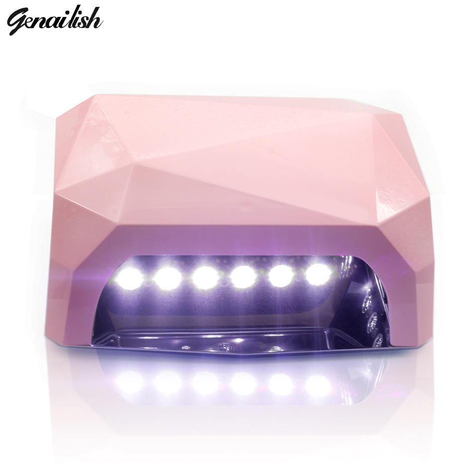 genailish UV Lamp LED Lamp 36W Nail Lamp Nail Dryer Diamond Shaped  White Light Curing for UV Gel Nails Polish Nail Art Tools