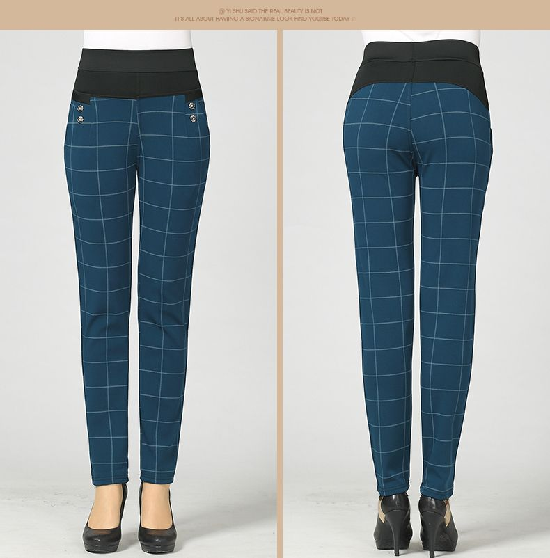 Woman Casual Pant Navy Blue Green Black Plaid Trousers Women Spring Autumn Winter Trouser High Waist Elastic Band Pantalonese Mujer  (22)
