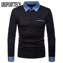 New Fashion Spring Autumn Mens Polo Shirt Casual Full Long Sleeve Jean Collar Design POLO Shirts Male Top Big Size Free Shipping