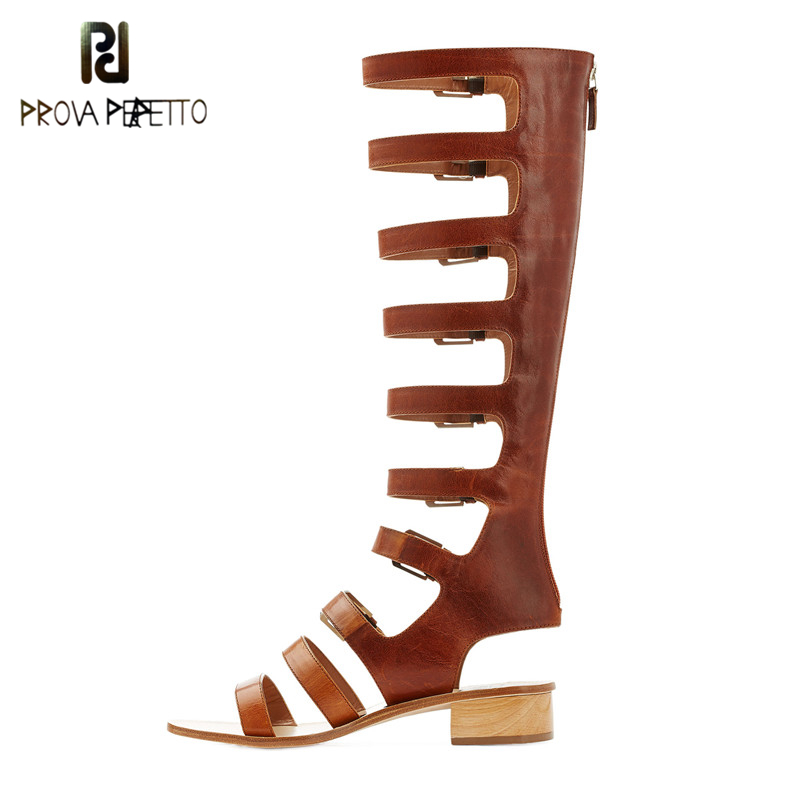 Prova Perfetto Gladiator Sandals Women 2017 Knee High Sandals Boots Belt Buckle Sandal Shoes Woman Shoes Summer Sexy Long Boot handmade high quality 2017 summer new knee high boots gladiator women sandals boot real leather flats casual shoes black size 41