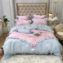 Korean Princess Style Flowers Love Stripe Printing Polyester Cotton Girl Bedding Set Ruffles Duvet Cover Bed sheet Pillowcases