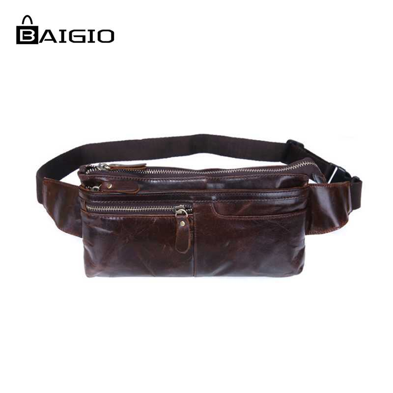 Baigio Men Bag Waist Packs Oil Wax Genuine Leather Bags Fashion Fanny Packs Small Men Waist Pouch Belt Clutch Vintage Travel Bag brand logo new multifunctional genuine leather waist pack for men women bags travel belt bag money pouch