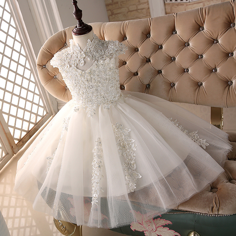 Flower Girl Dresses for Wedding Beading Ball Gown Princess Dress Crystal Lace Kids Pageant Dress Party Birthday Costume K08