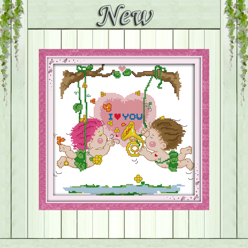 Home & Garden Love Swing Kiss Cartoon Decor Painting Counted Print On Canvas Dmc 14ct 11ct Chinese Cross Stitch Needlework Set Embroidery Kits A Plastic Case Is Compartmentalized For Safe Storage