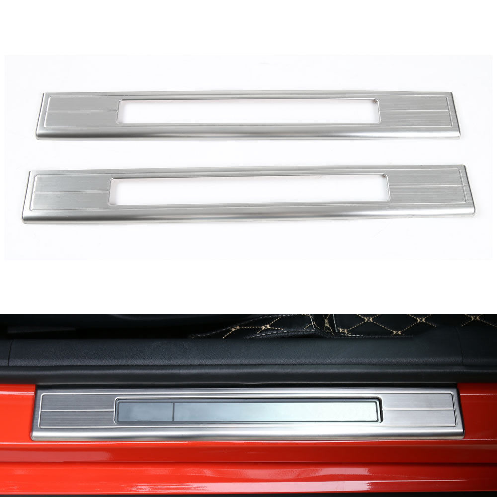 BBQ@FUKA 2x Stainless Steel Car Door Sill Welcome Pedal Half Suroud Cover Trim Car Accessories Fit For Ford Mustang 2015 2016 2pcs set stainless steel 90 degree self closing cabinet closet door hinges home roomfurniture hardware accessories supply