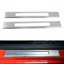 BBQ@FUKA 2x Stainless Steel Car Door Sill Welcome Pedal Half Suroud Cover Trim Car Accessories Fit For Ford Mustang 2015 2016