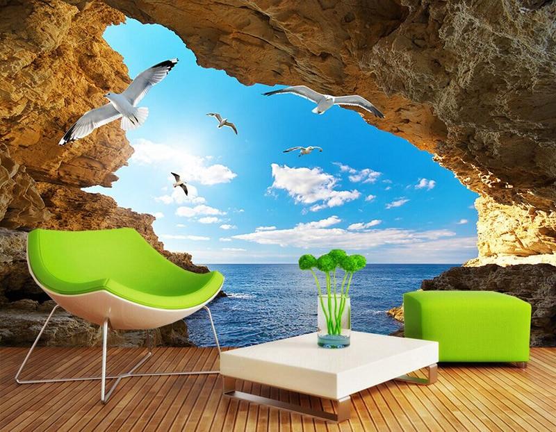 buy beach tropical wall mural custom 3d wallpaper for walls seagull photo wallpaper kids bedroom decor tv backdrop ocean wallpaper from
