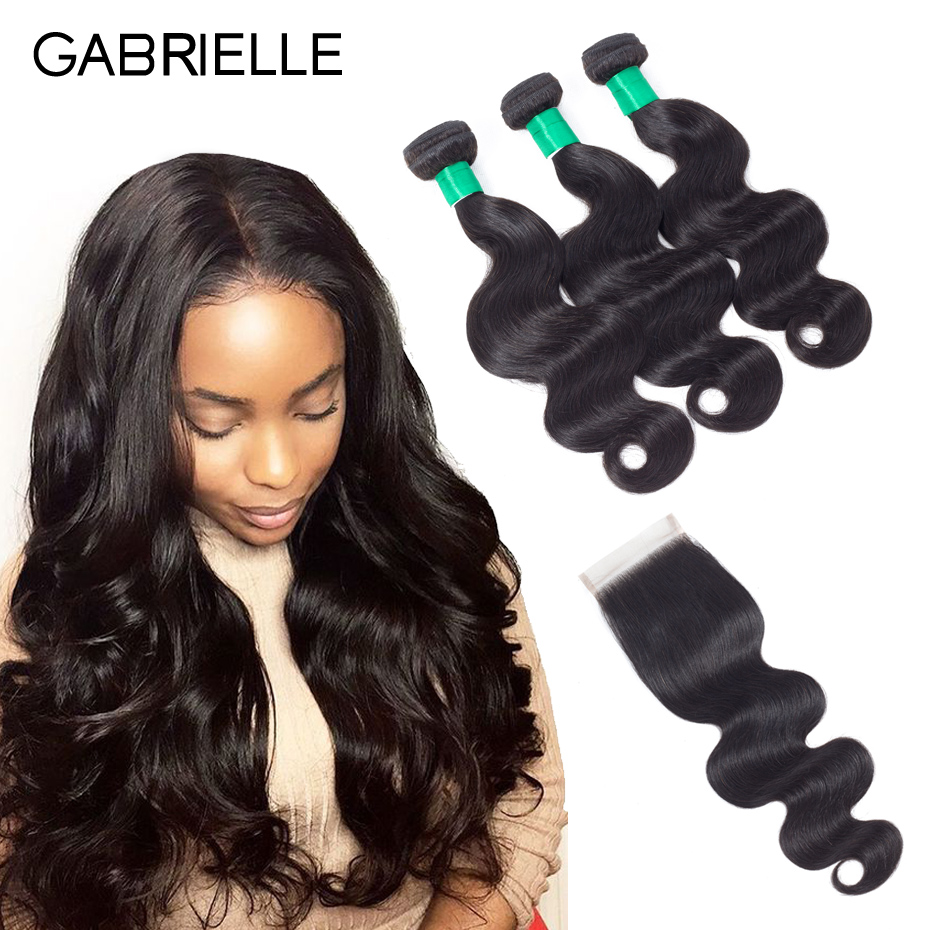 Gabrielle Brazilian Body Wave 3 Bundles with Closure 4pcs/lot Human Hair Weaves with 4x4 Lace Closure Free/Middle/Three Part