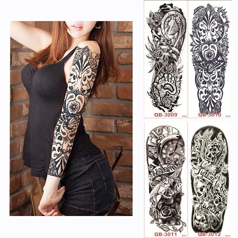 1pcs large waterproof full arm tattoo sticker fake tattoos Sleeve ink death skull on the body art for men women