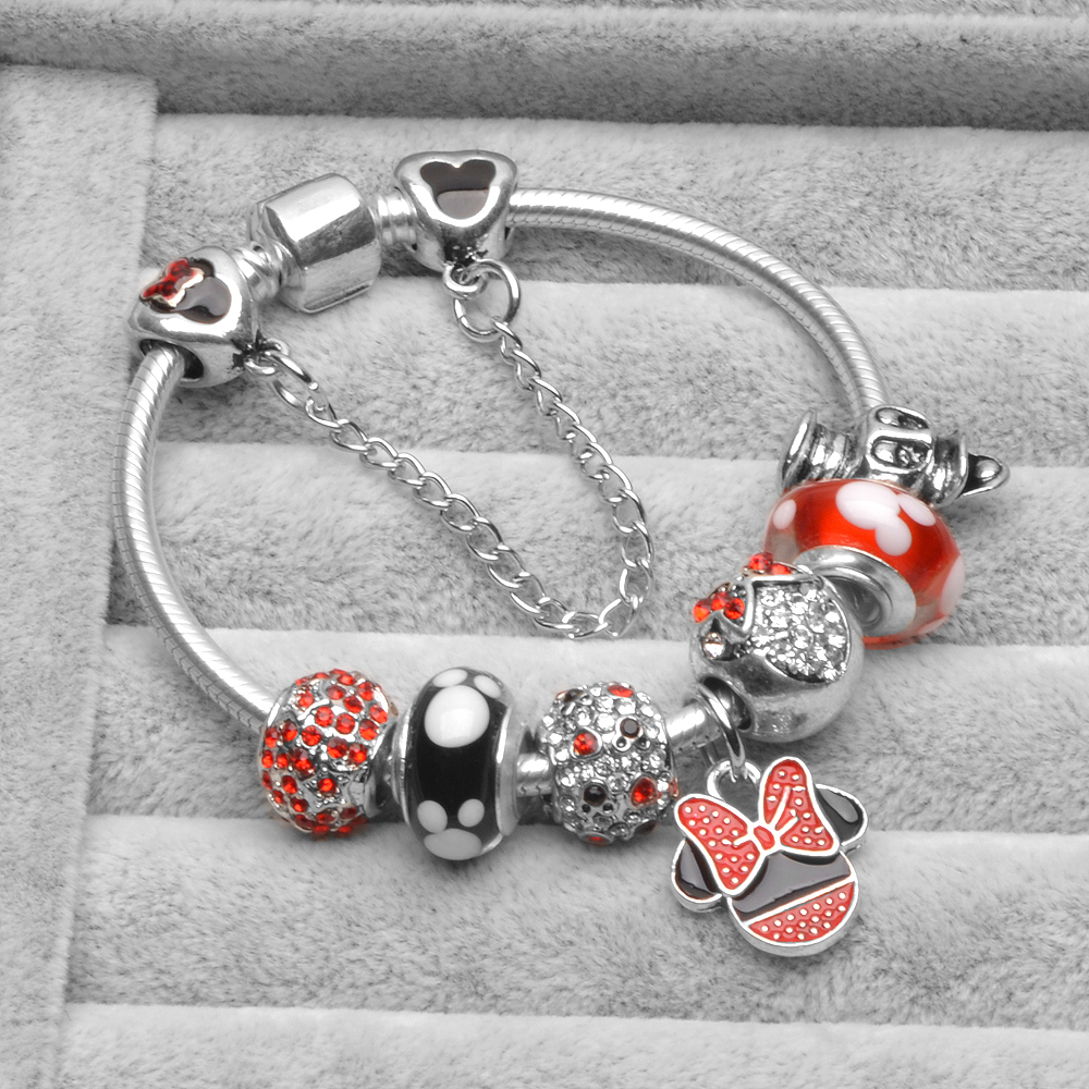 c9d9dc506 Europe Children Gift Charm Bracelet for Women Young students Murano bijoux  Mickey Fit Pandora Bracelet