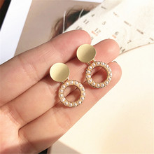 Vintage Gold Drop Earrings For Women  Brincos Geometric Drop Earring Big  Wedding Irregular Freshwater Pearl Jewelry 2019 цена и фото