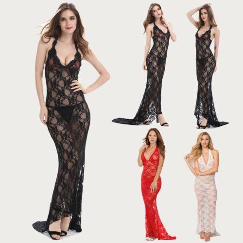 Women Sexy Lace Sheer Lingerie Set Nightdress Sleepwear+G-string Dress Plus Size