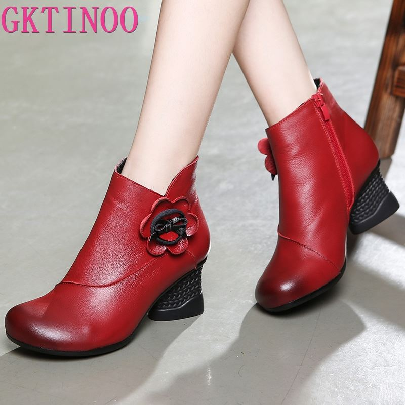 GKTINOO Autumn Shoes Woman Cow Leather Flower Shoes High Heels Ankle Boots Genuine Leather Handmade Retro