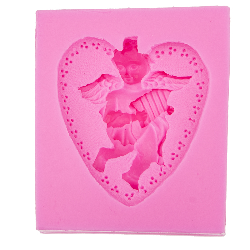 3D Reverse sugar molding Heart-shaped Angel silicone mould for polymer clay soap molds accessories cake decoration tools FT-0539