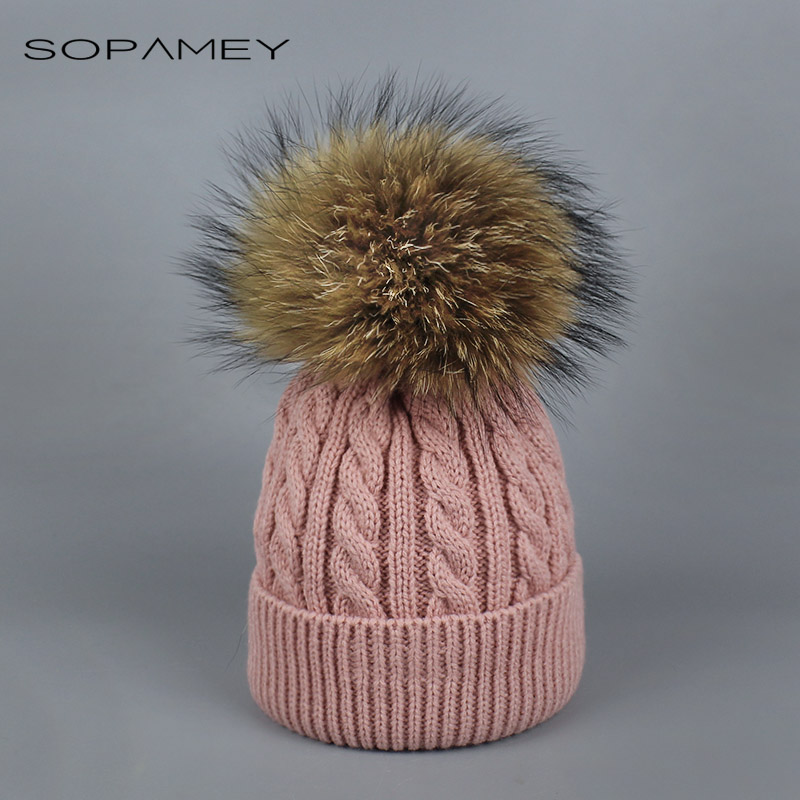 купить 2017 Girl Pom Pom Beanie Warm Knitted Kids Fur Pompom Hat Children Real Raccoon Fur Pompon Winter Hat Cap Skullies дешево