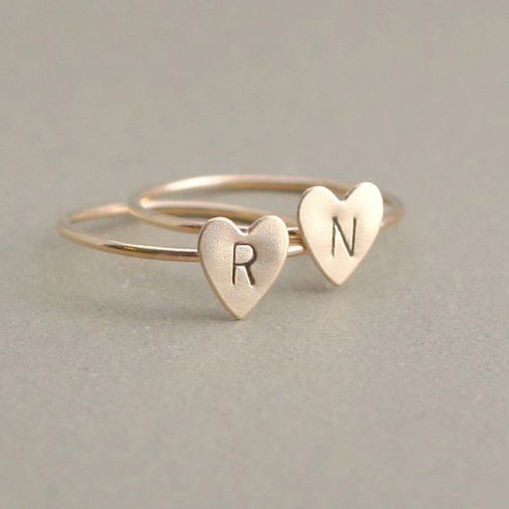 Adjustable Personalized Hand Stamped Stacking A-Z 26 Letters Initial Tiny Heart Rings for Women Gold Color Finger Rings Jewelry 2