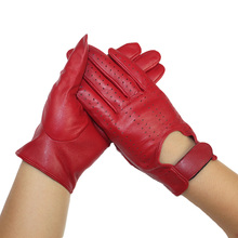 2015  autumn winter dancing Women fashion sexy genuine leather sheepskin  gloves driving new soft warm mesh hot sale mittens