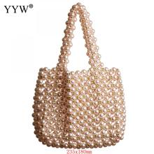 Pink Glass Pearl Bags Handmade Handbag Hollow Pearl Purse Women 2019 Summer Beach Bag White Evening Party Prom Clutch Bags New bolsa 2018 new acrylic beach bag pearl white lady handbag vacation totes chic evening clutch party purse bag acrylic clutch bags