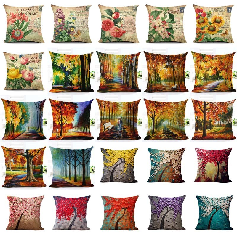 scenic Tree Showy and Colorful Cotton Linen Cushion Cover Vintage Style Flower Pattern Quote Pillowcase Waist Throw Pillow Cover