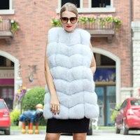 2018 New Women's Hot 100% Genuine Fur Fox Hair Vest Fashion Trend Natural Blue Fox Vest Lady Fashion Luxury Coat Warm