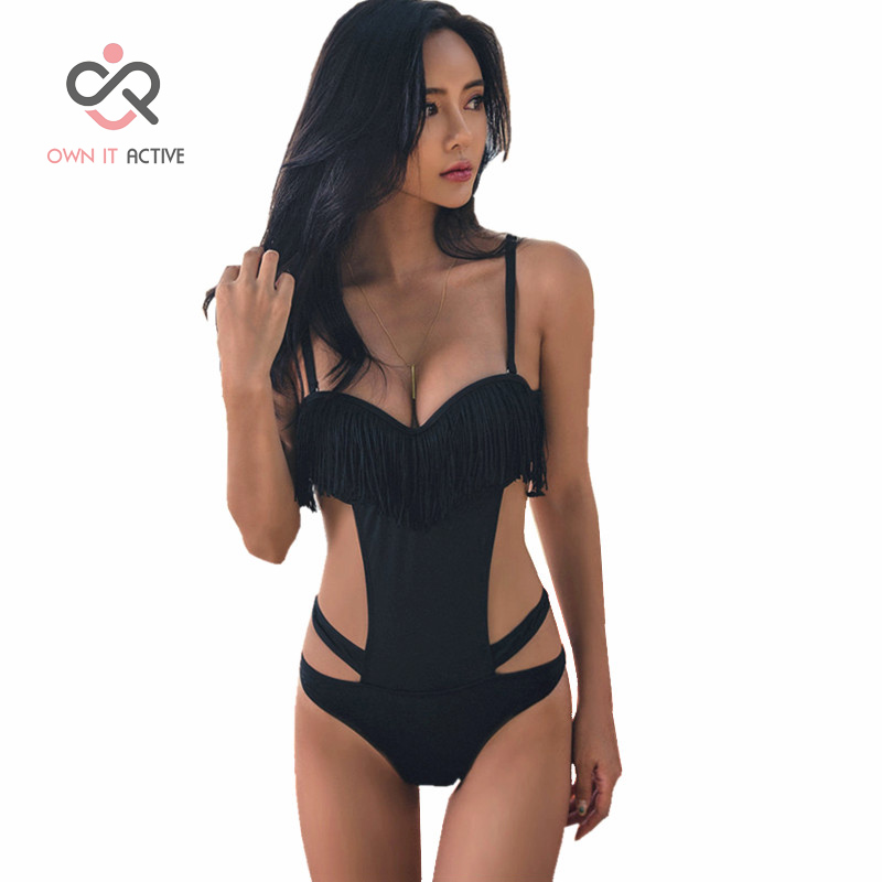 Sexy Black Tassel Trikini Monokini Bathing Swim Suit For Women Thong Swimwear One Piece Swimsuit Y012