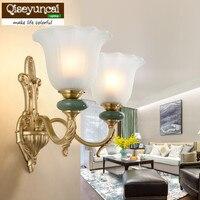 Qiseyuncai Americano simples sala fundo da parede de cobre lâmpada de parede criativo quarto lâmpada de cabeceira lâmpadas decorativas em cerâmica